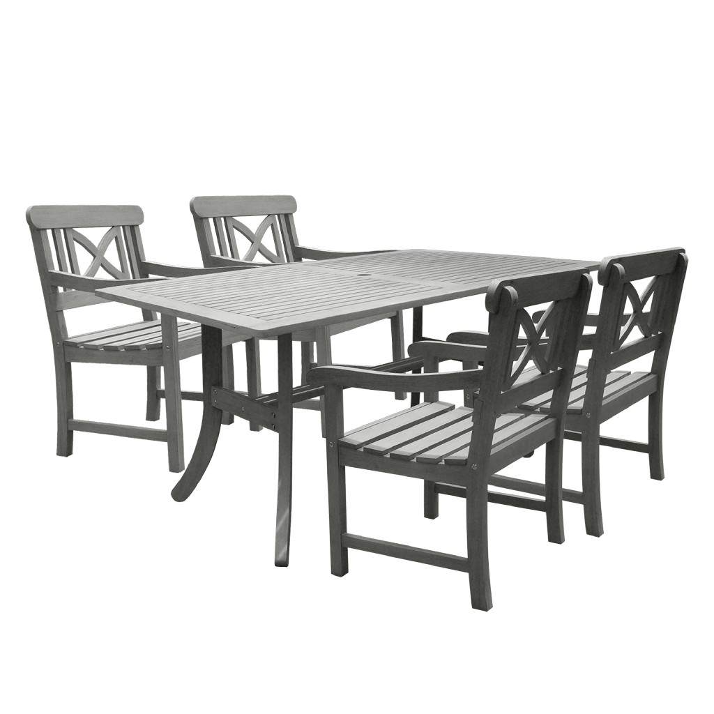 Vifah Outdoor Wood Dining Set Patio