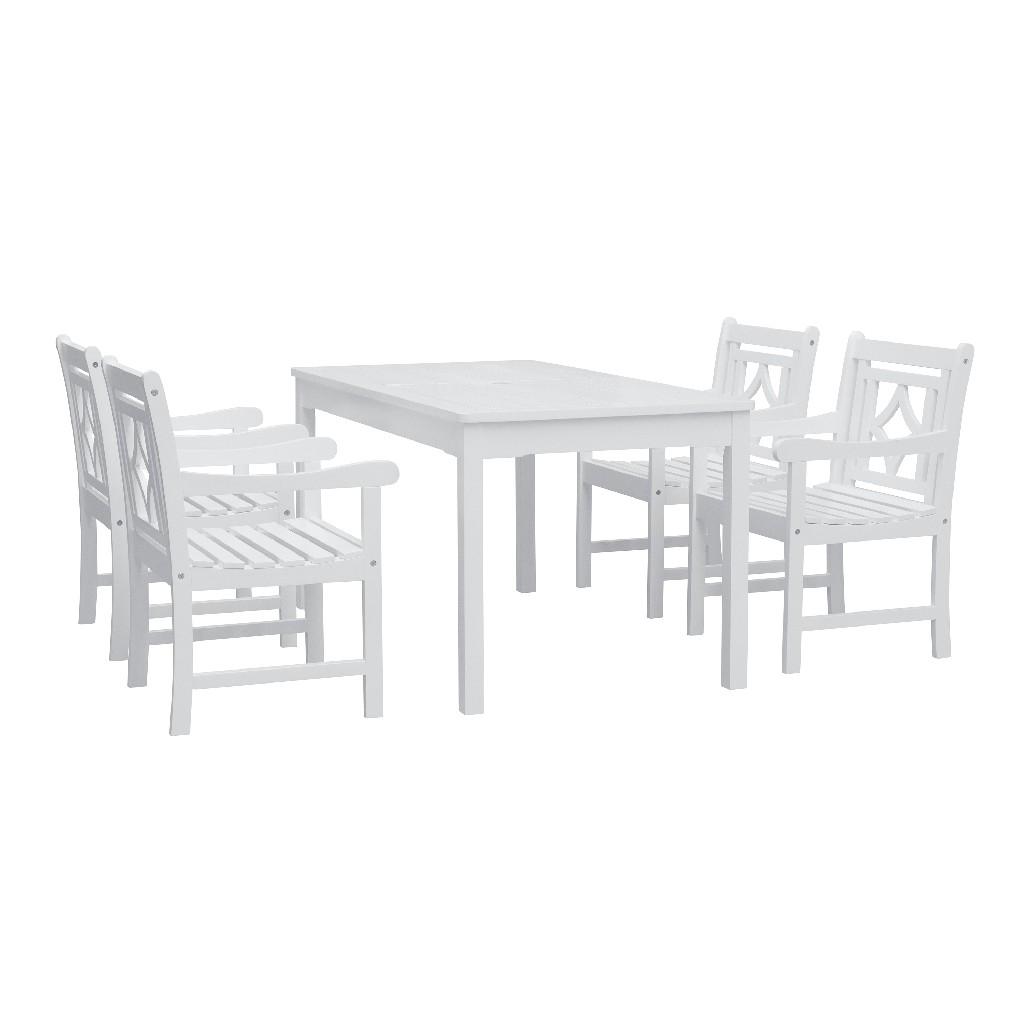 Bradley Outdoor 5-PC Wood Patio Rectangular Table Dining Set - Vifah V1336SET26