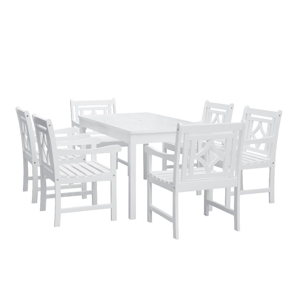 Bradley Outdoor 7-PC Wood Patio Rectangular Table Dining Set - Vifah V1336SET27