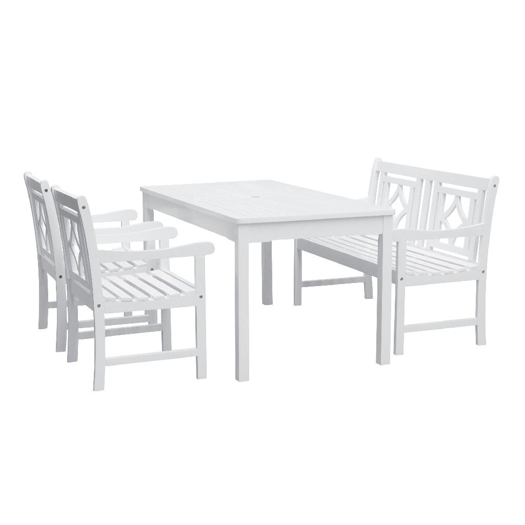 Bradley Outdoor 4-PC Wood Patio Rectangular Table Dining Set - Vifah V1336SET28