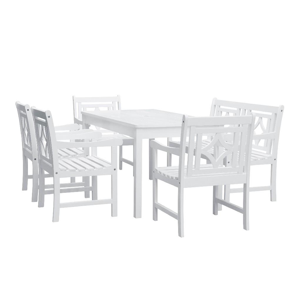 Bradley Outdoor 6-PC Wood Patio Rectangular Table Dining Set - Vifah V1336SET29
