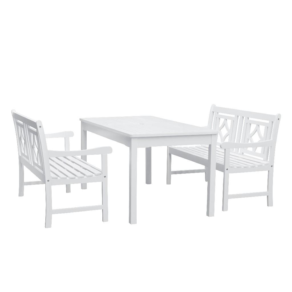 Bradley Outdoor 3-PC Wood Patio Rectangular Table Dining Set - Vifah V1336SET31