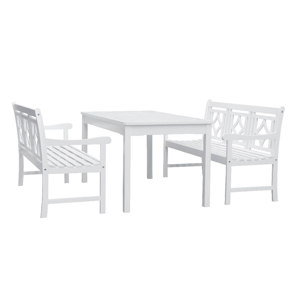 Bradley Outdoor 3-PC Wood Patio Rectangular Table Dining Set - Vifah V1336SET32