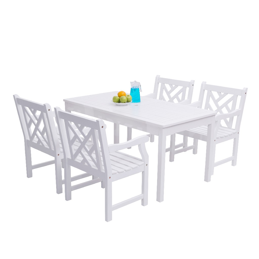 Bradley Outdoor 5-PC Wood Patio Dining Set in White - Vifah V1336SET8
