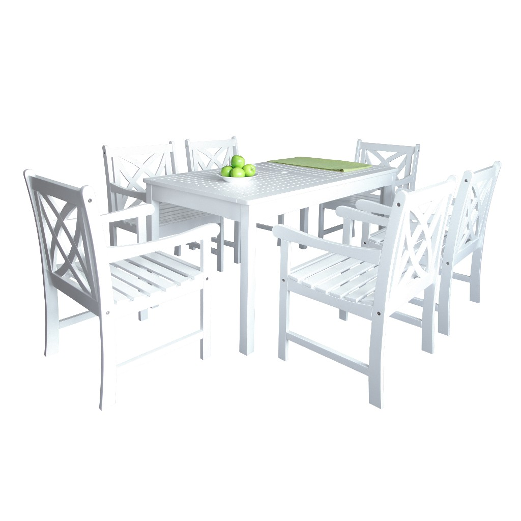 Bradley Outdoor 7-PC Wood Patio Dining Set in White - Vifah V1336SET9