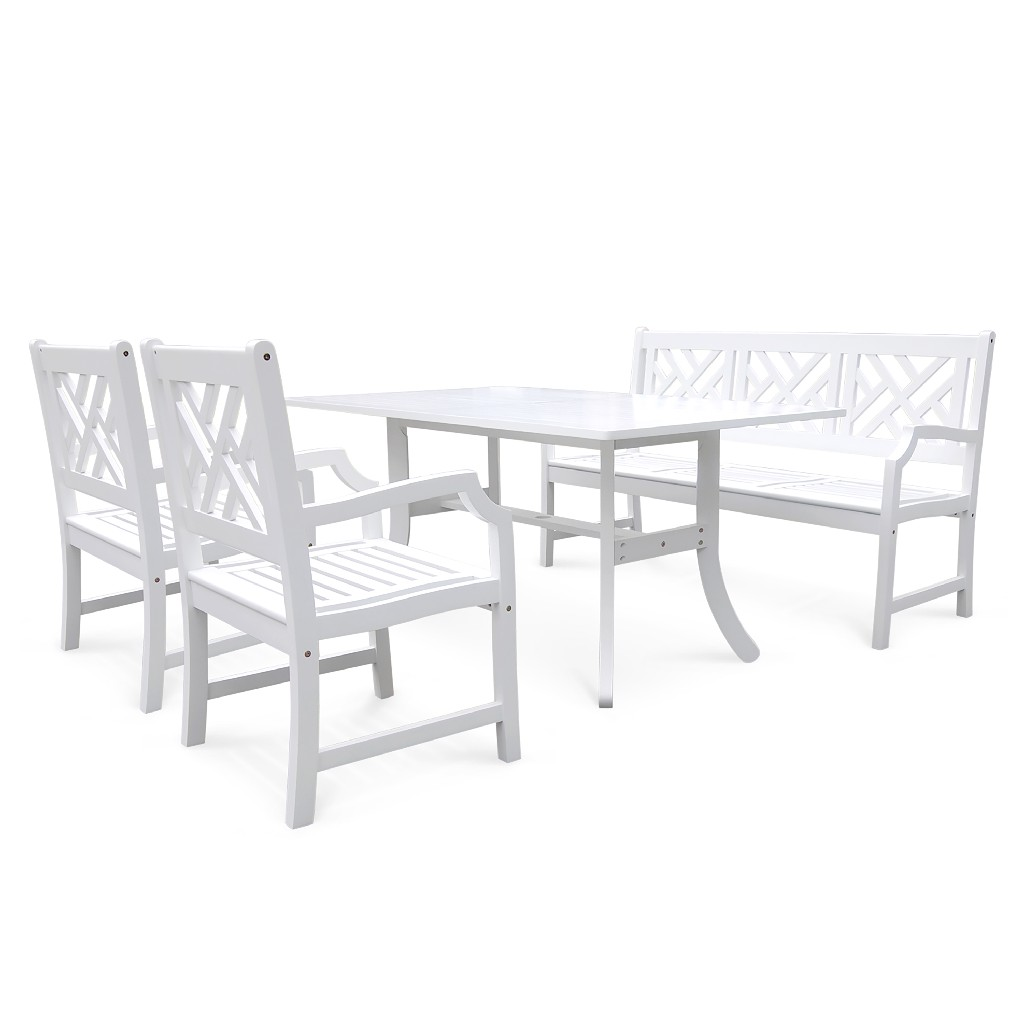 Bradley Outdoor 4-PC Wood Patio Dining Set w/ 5-foot Bench in White - Vifah V1337SET1