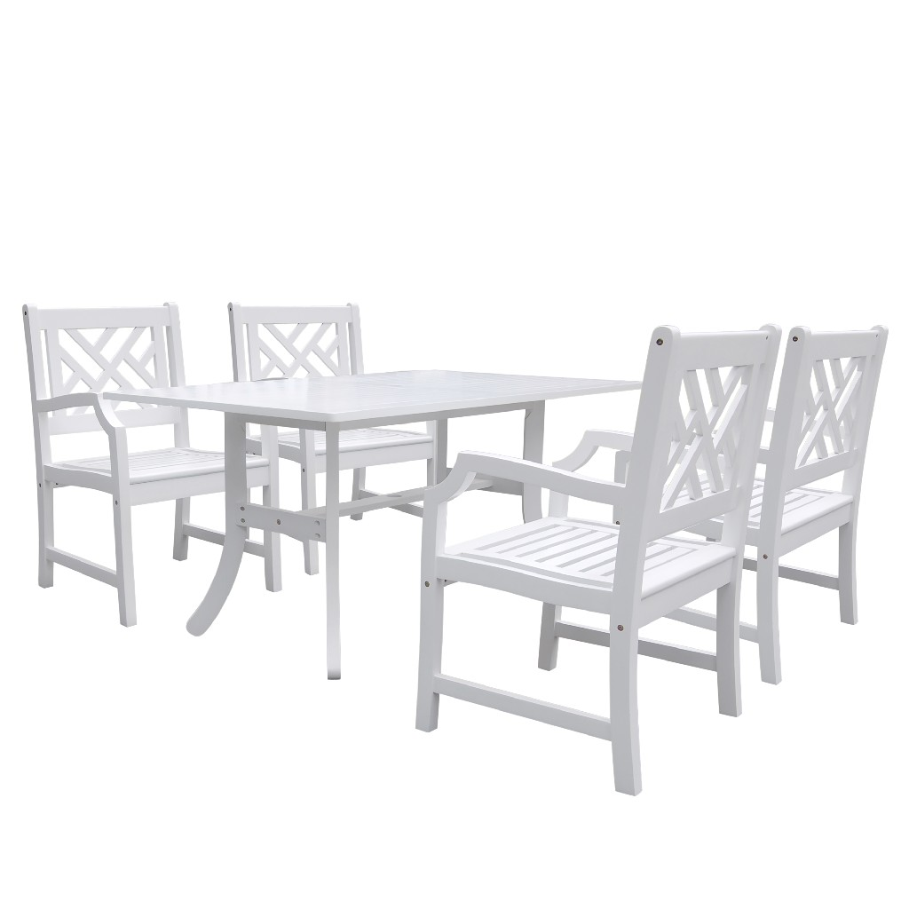 Bradley Outdoor 5-PC Wood Patio Dining Set in White - Vifah V1337SET2