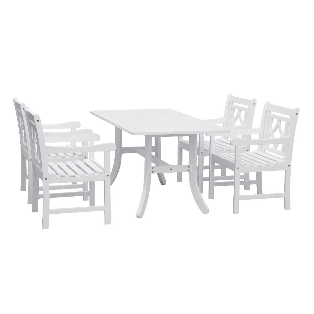 Bradley Outdoor 5-PC Wood Patio Curvy Legs Table Dining Set - Vifah V1337SET27