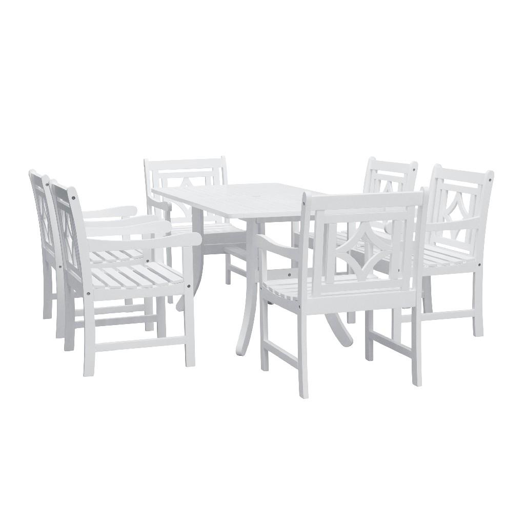 Bradley Outdoor 7-PC Wood Patio Curvy Legs Table Dining Set - Vifah V1337SET28