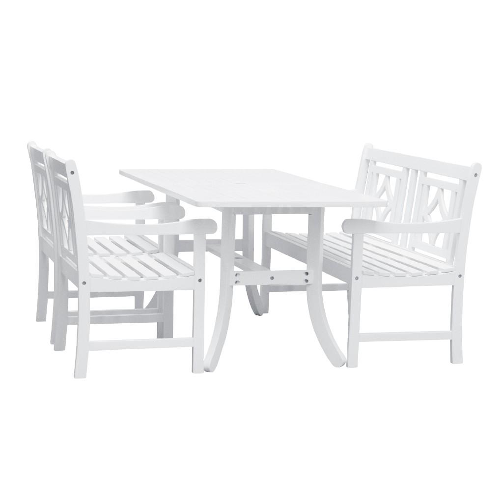 Vifah Wood Patio Curvy Legs Table Dining Set