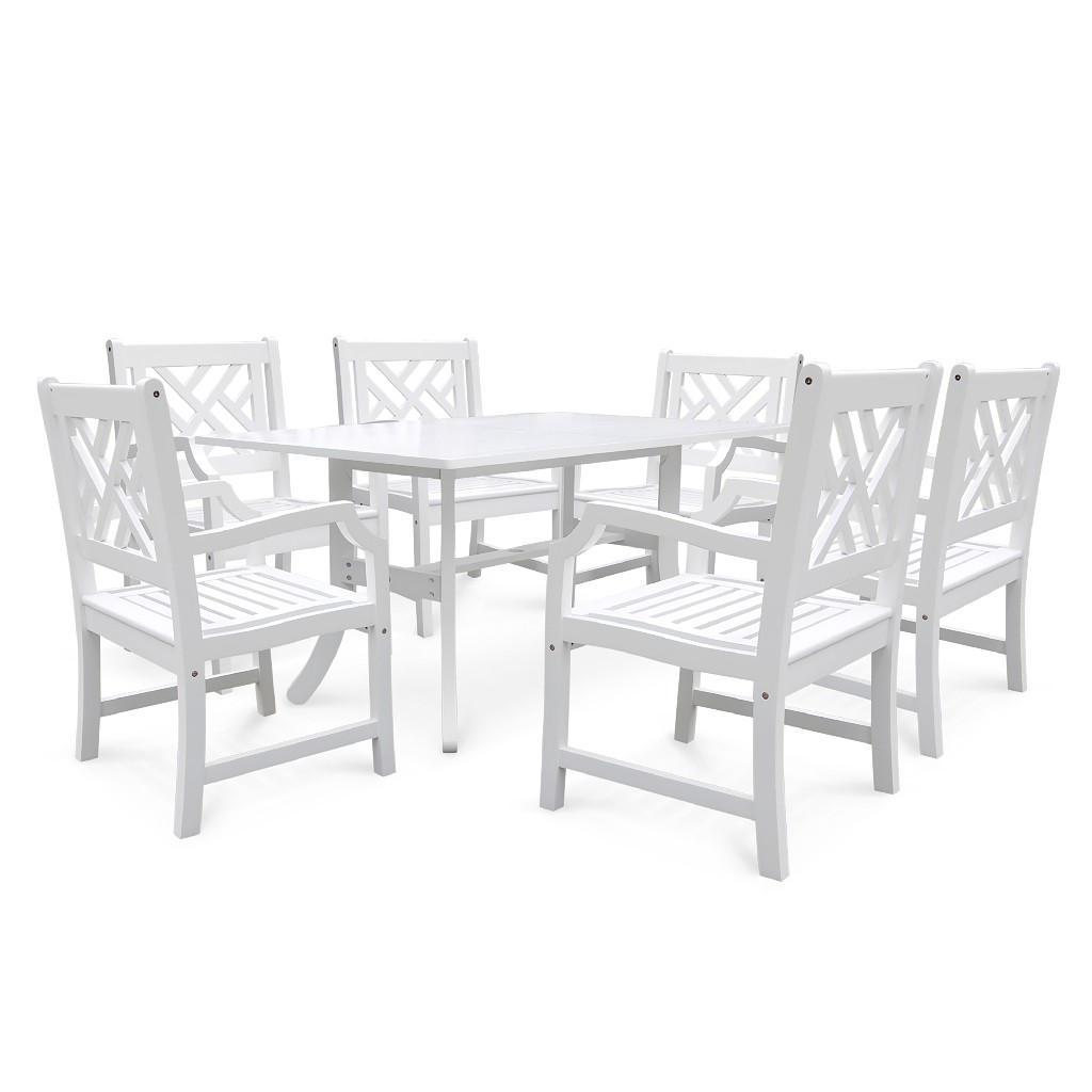 Bradley Outdoor 7-PC Wood Patio Dining Set in White - Vifah V1337SET3