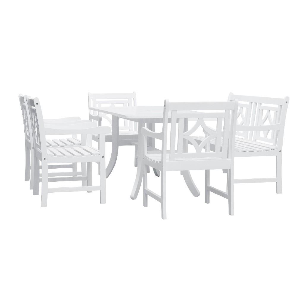 Bradley Outdoor 6-PC Wood Patio Curvy Legs Table Dining Set - Vifah V1337SET30