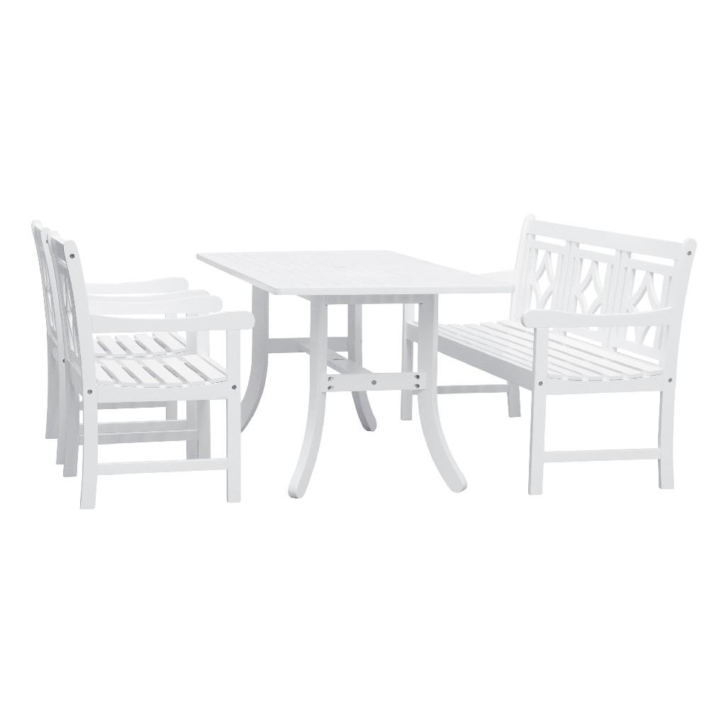 Bradley Outdoor 4-PC Wood Patio Curvy Legs Table Dining Set - Vifah V1337SET31
