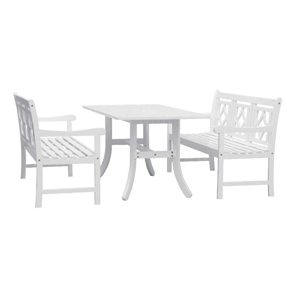 Bradley Outdoor 3-PC Wood Patio Curvy Legs Table Dining Set - Vifah V1337SET33