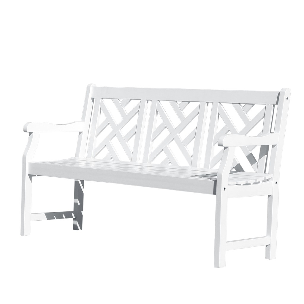 Bradley Outdoor Patio 5-foot Wood Garden Bench in White - Vifah V1342