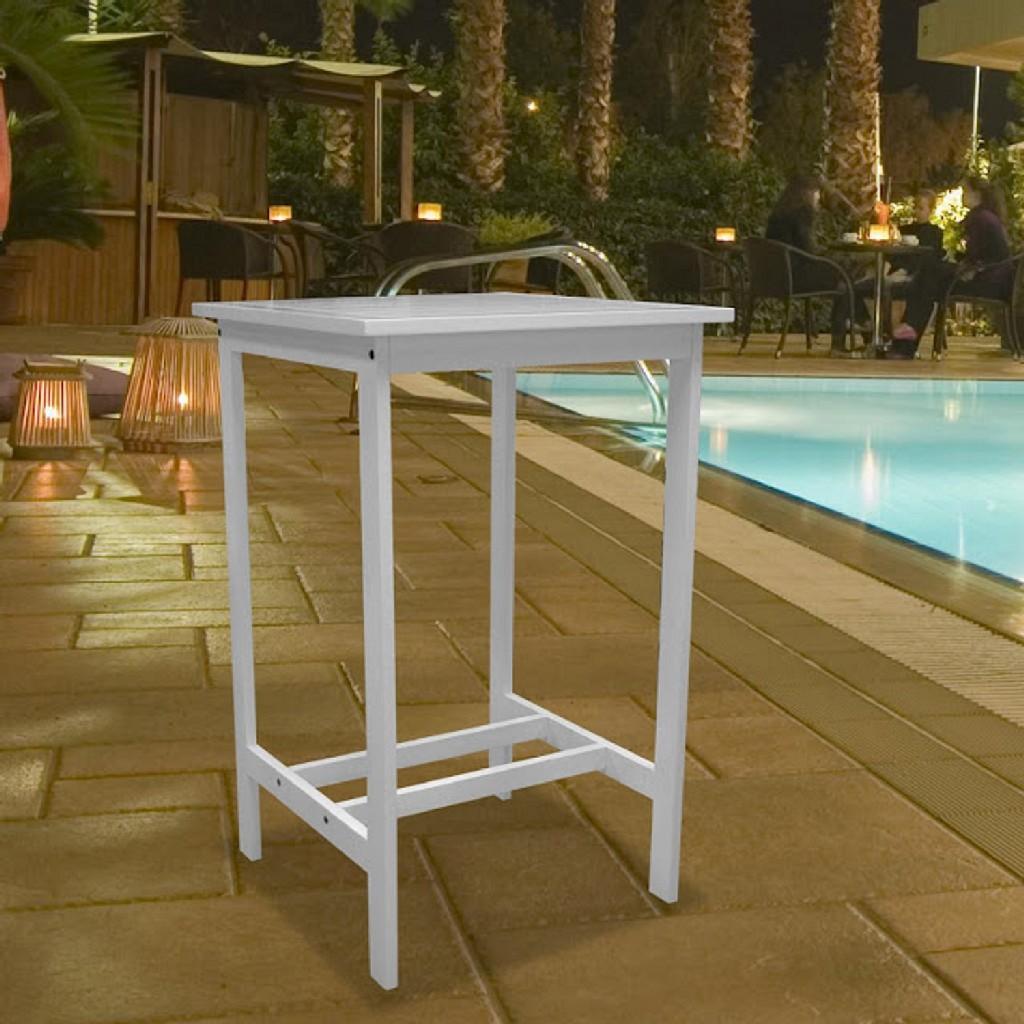 Bradley Outdoor Bar Table in White - Vifah V1357