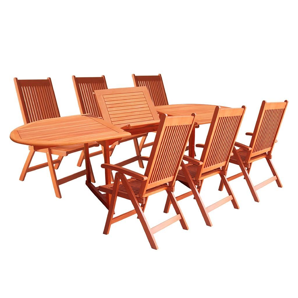 Vifah Dining Set Wood Patio Extension Table Reclining Folding Chairs
