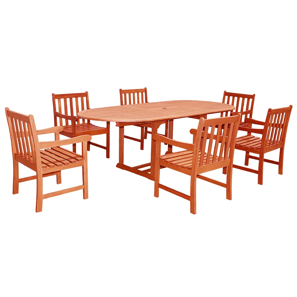 Vifah Furniture Dining Set Wood Patio Extension Table Photo