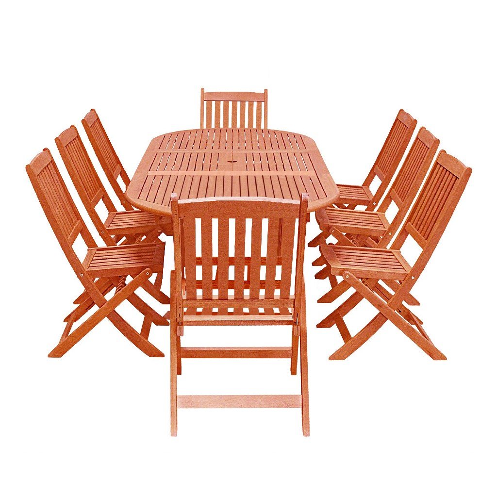 Vifah Furniture Dining Set Wood Patio Extension Table Folding Armchair Photo