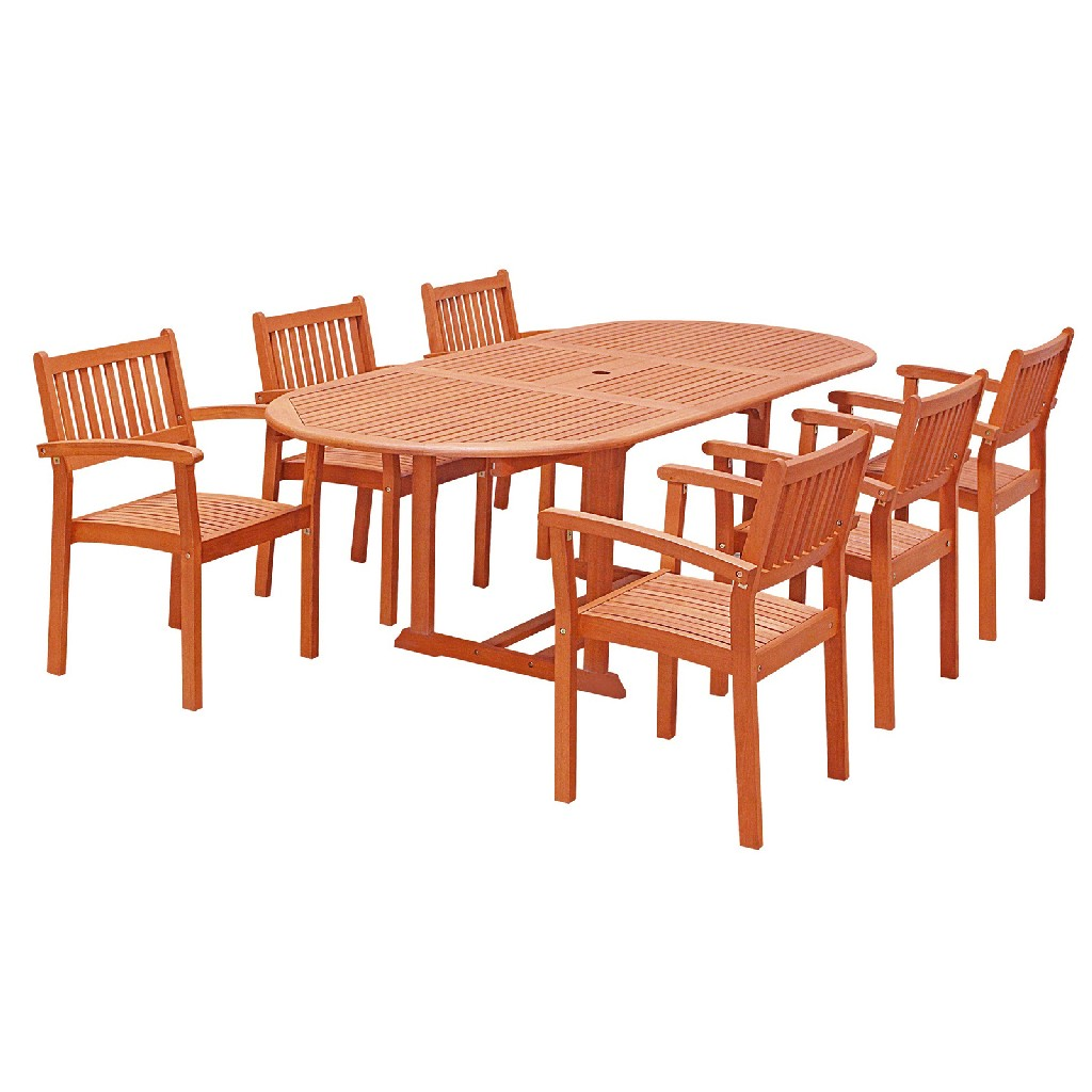 Vifah Wood Outdoor Dining Set Extension Table Stacking Chairs