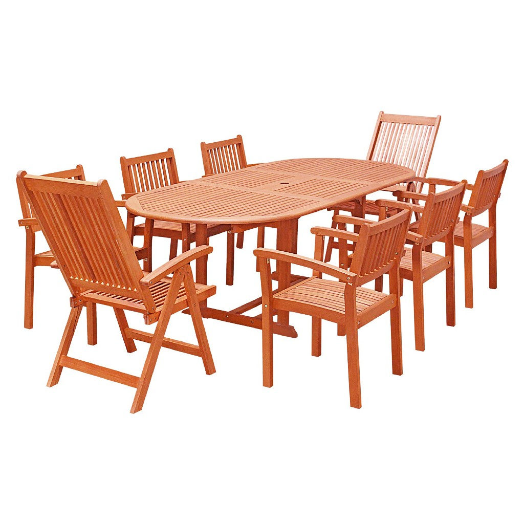 Wood Patio Dining Set Extension Table Stacking Chairs