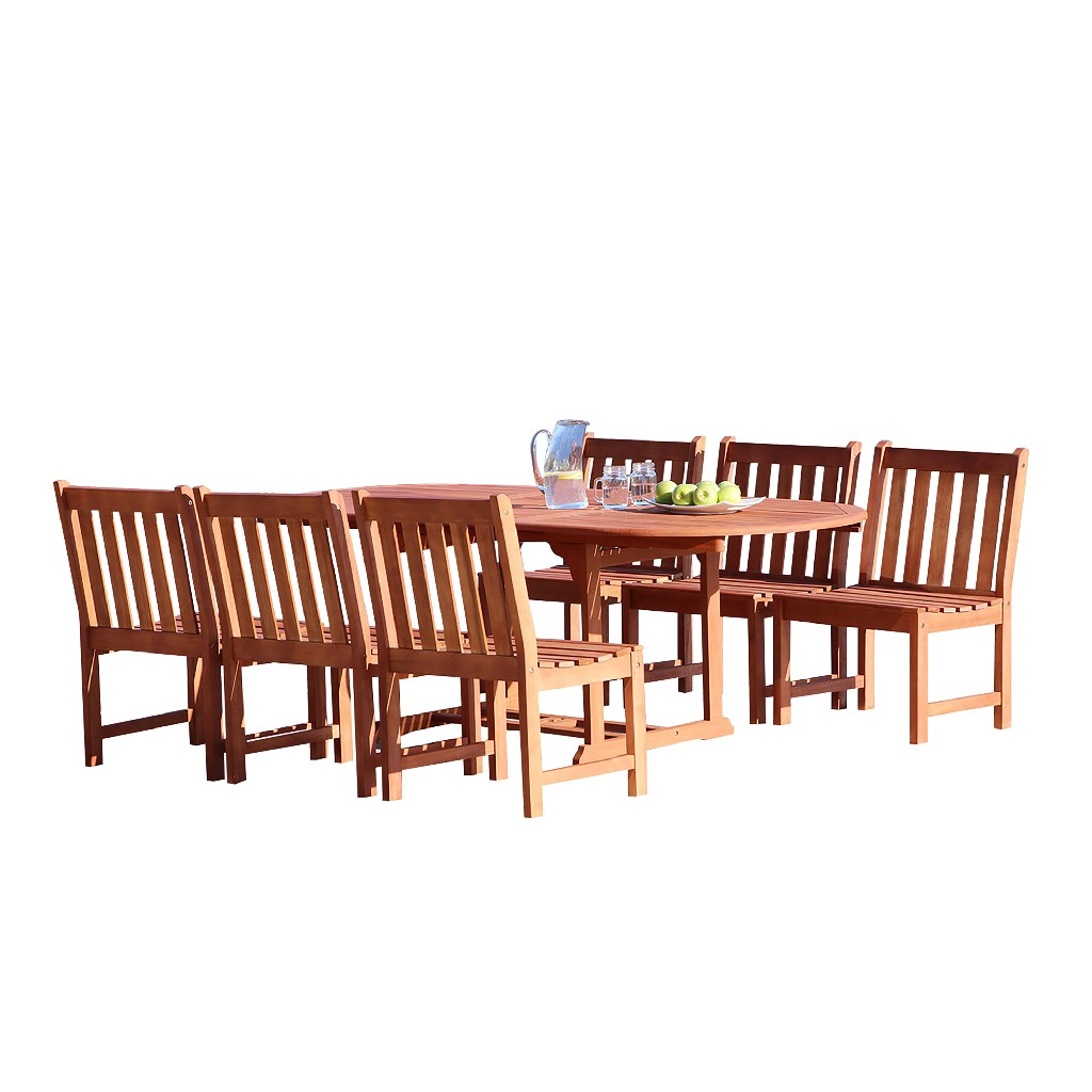 Vifah Furniture Dining Set Wood Patio Extension Table Armless Chairs Photo