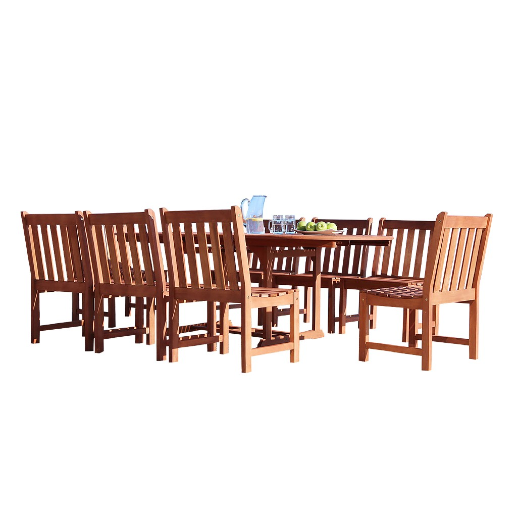 Vifah Dining Set Wood Patio Extension Table Armless Chair