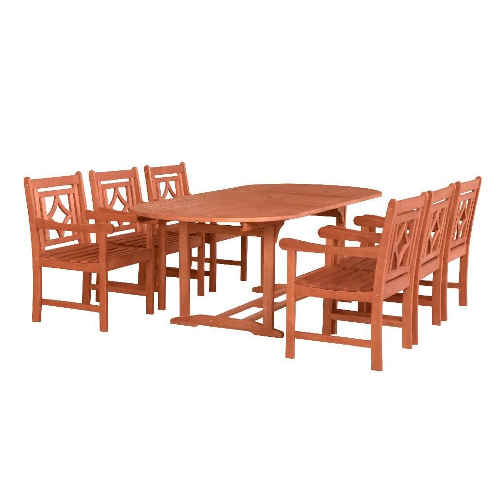 Malibu Outdoor 7-PC Wood Patio Extendable Table Dining Set - Vifah V144SET41