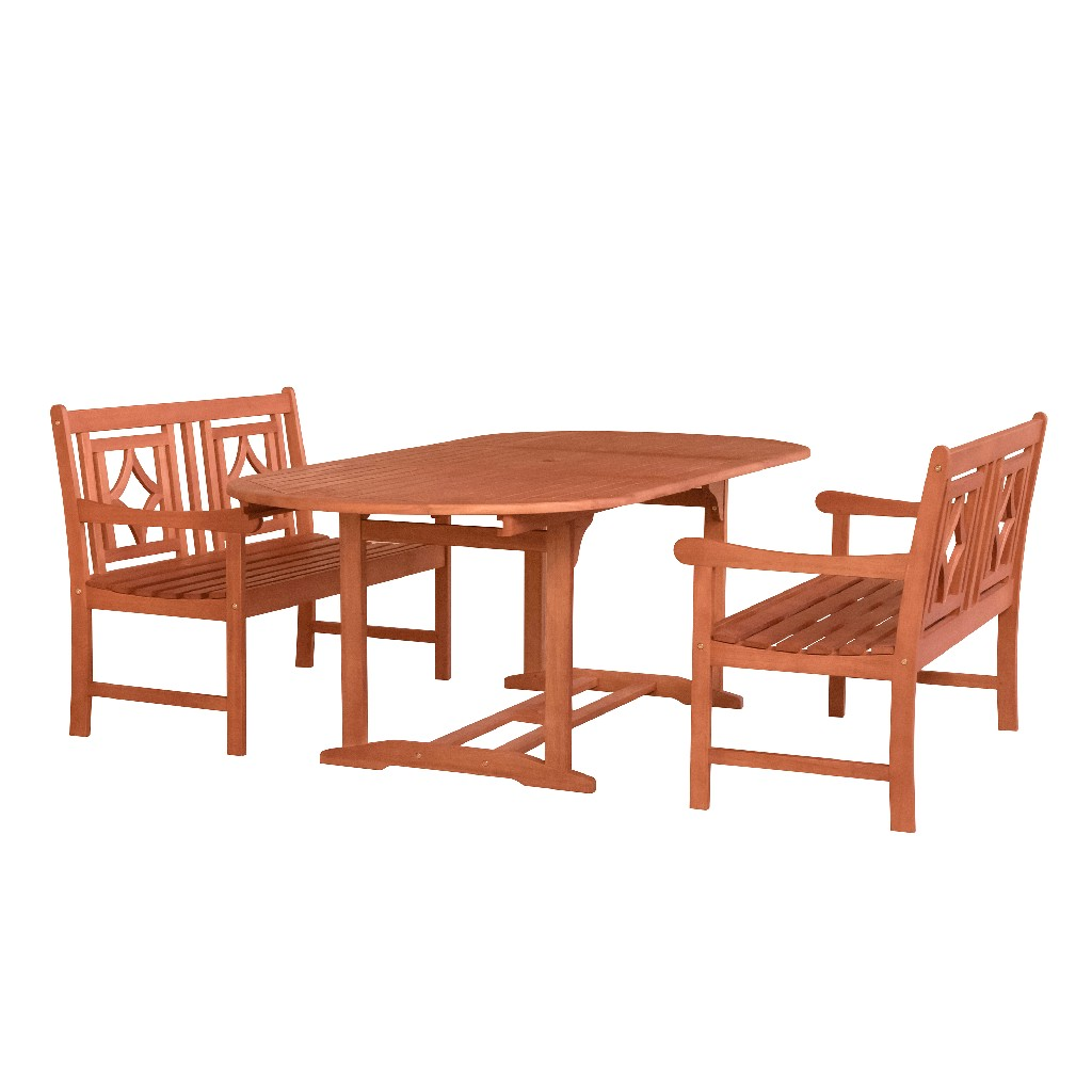 Vifah Wood Patio Extendable Table Dining Set