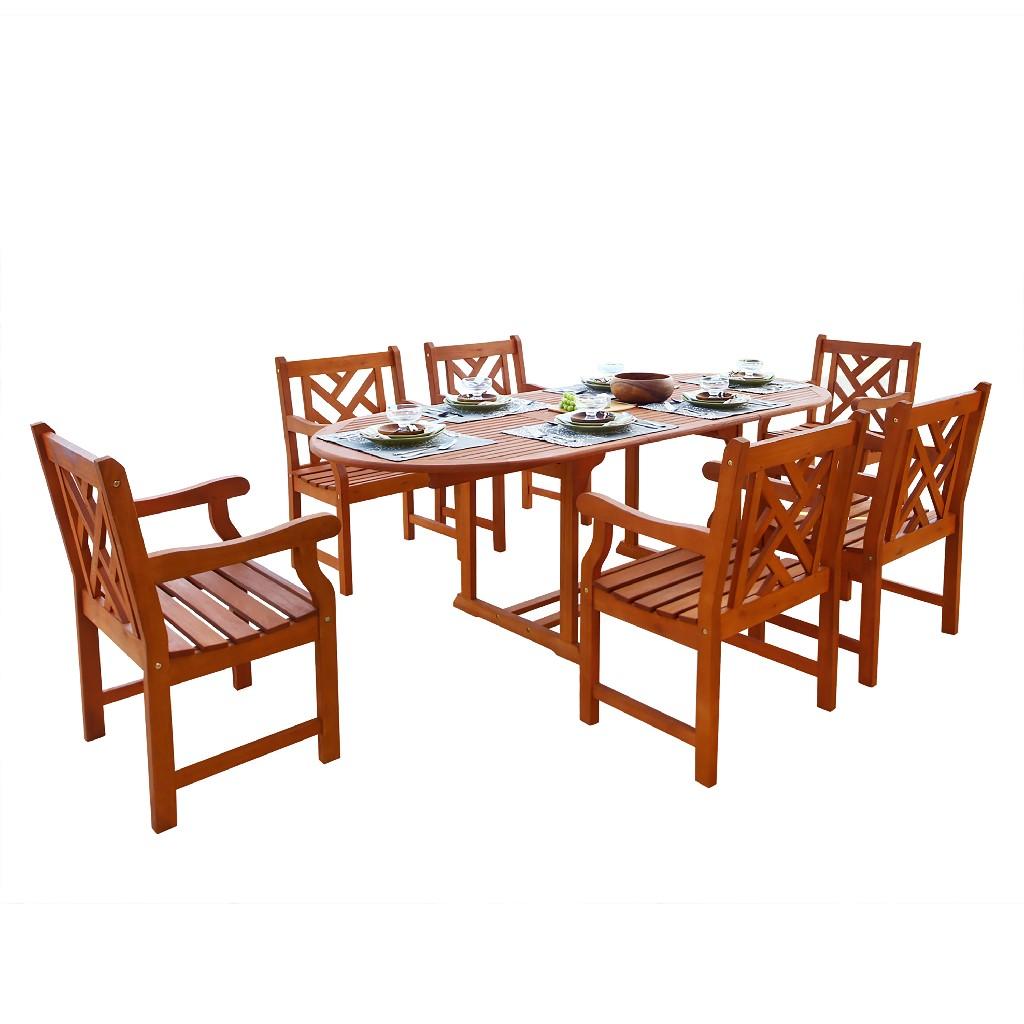 Malibu Outdoor 7-PC Wood Patio Dining Set w/ Extension Table - Vifah V144SET7