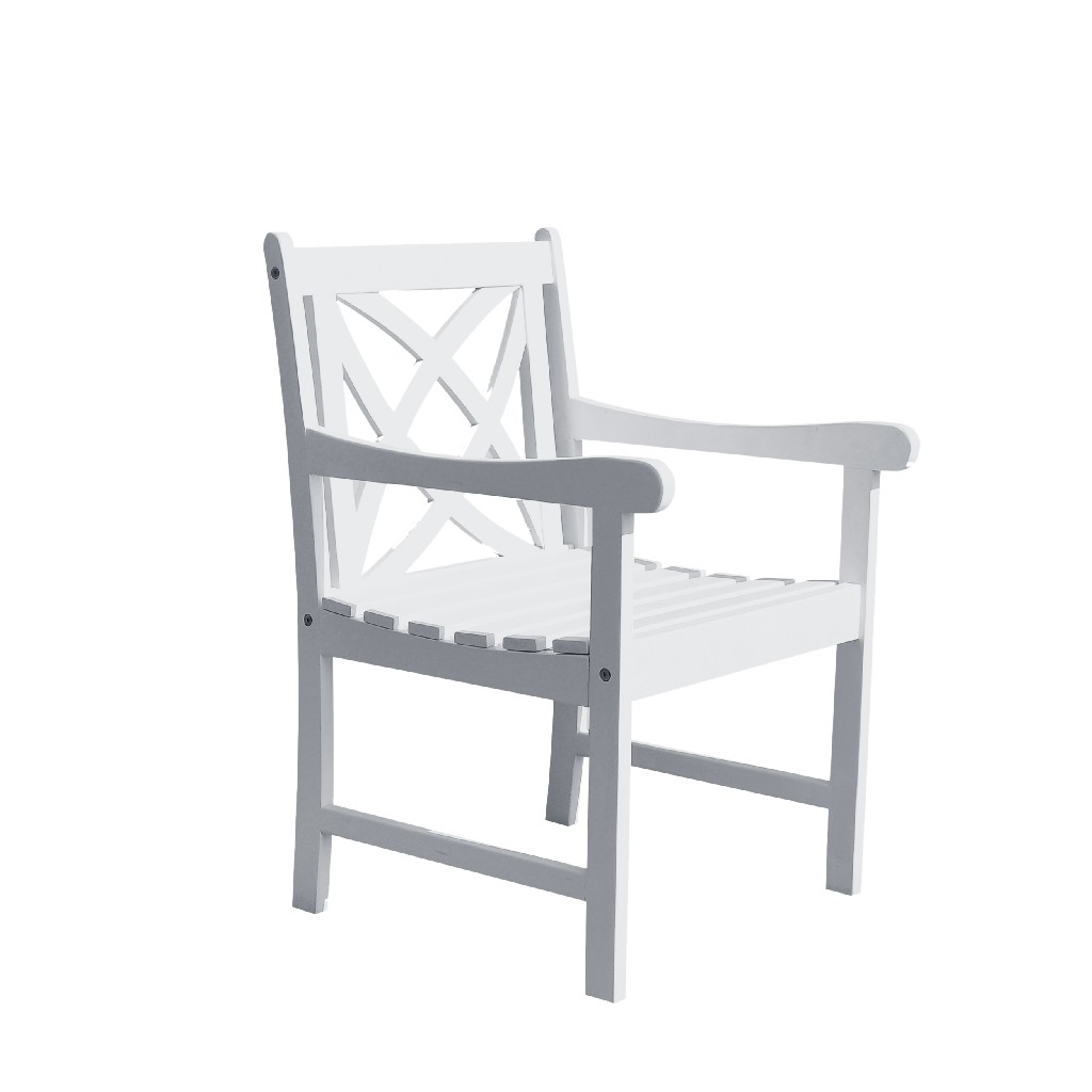 Bradley Outdoor Garden Armchair in White - Vifah V1610