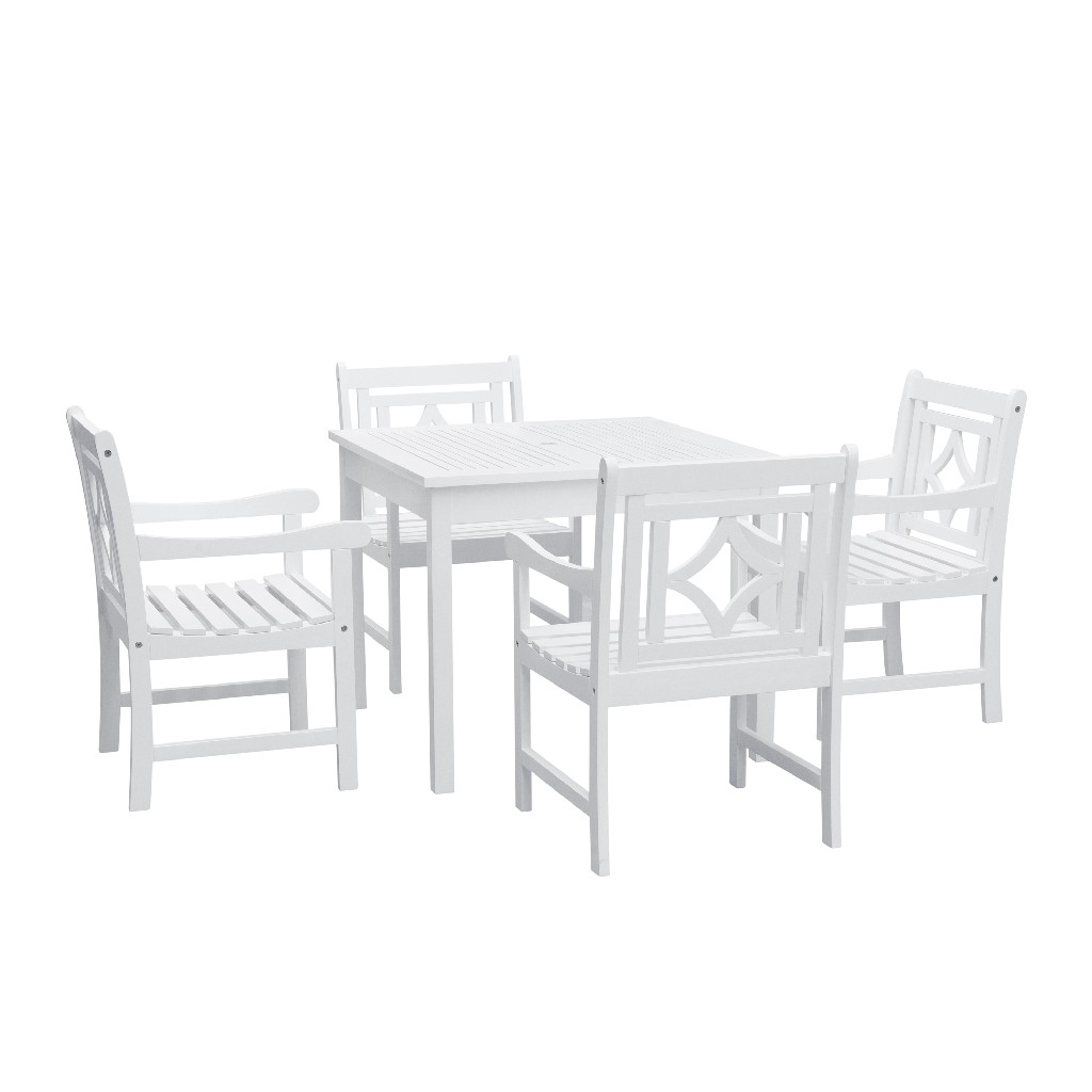 Bradley Outdoor 5-PC Wood Patio Stacking Table Dining Set - Vifah V1841SET7