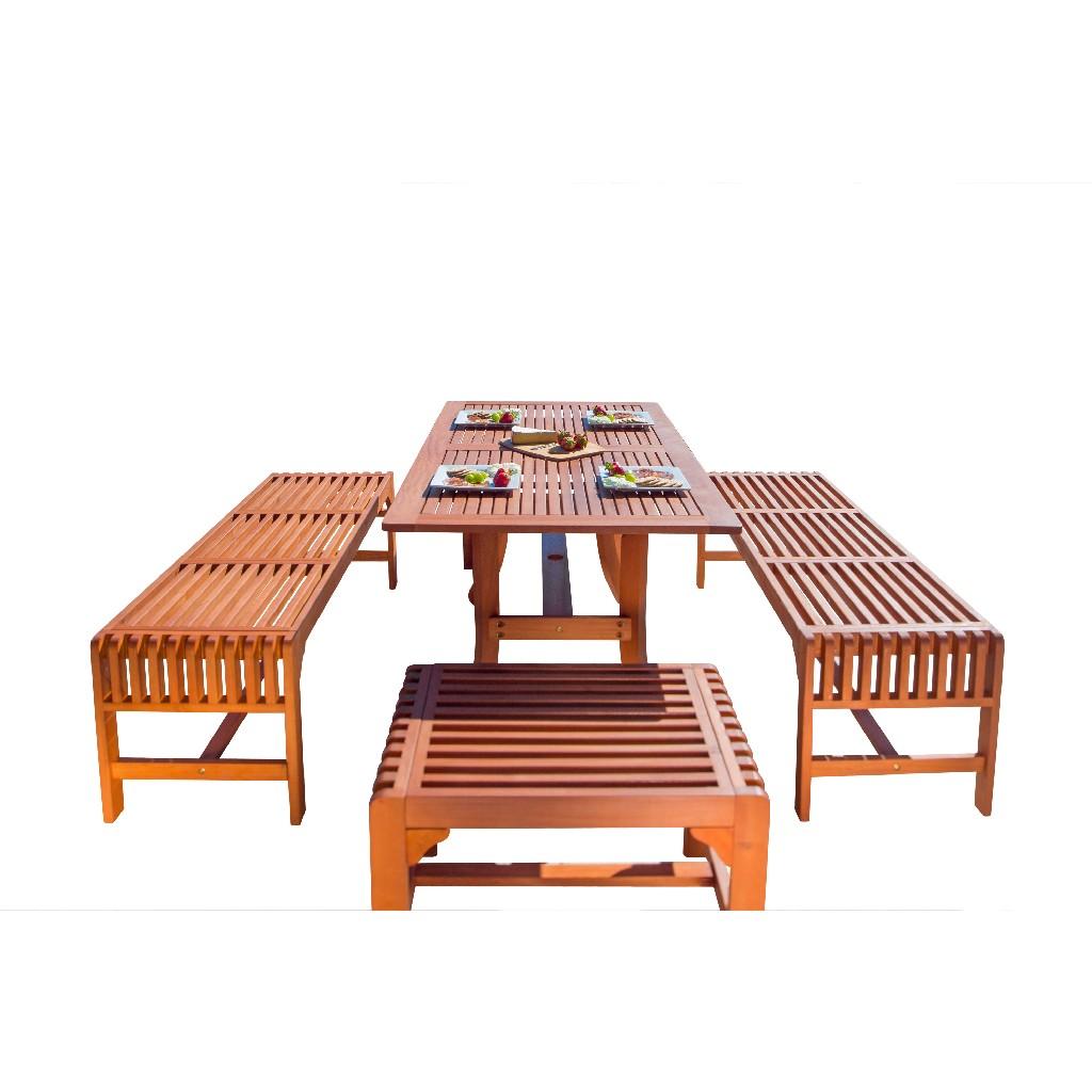 Vifah Dining Set Wood Patio Curvy Leg Table Backless Bench