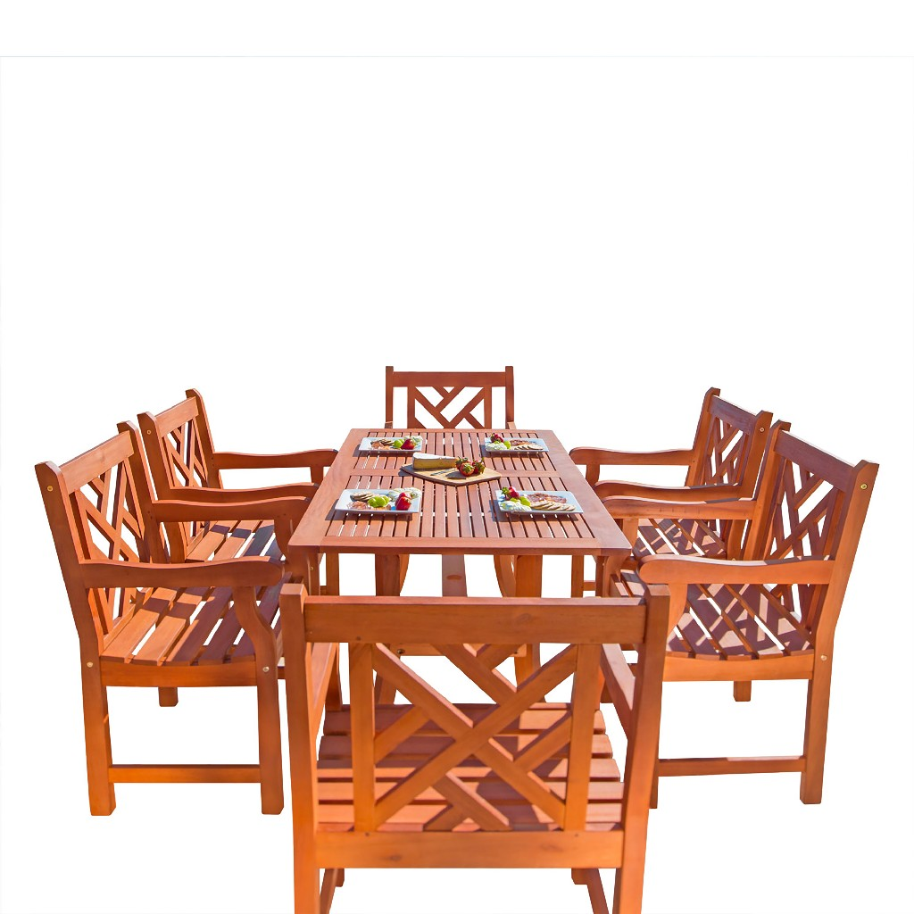 Malibu Outdoor 7-PC Wood Patio Dining Set w/ Curvy Leg Table - Vifah V189SET9