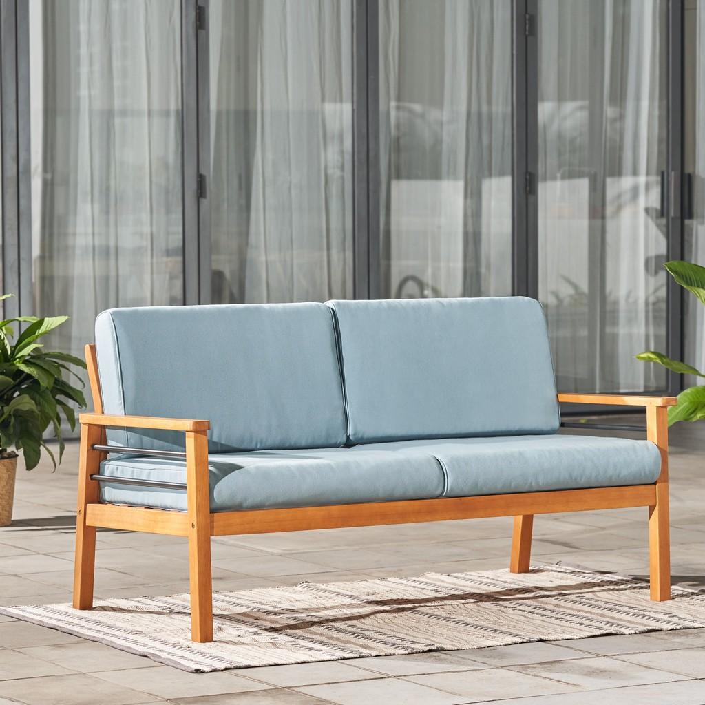Gloucester Contemporary Patio Wood 2-Seater Sofa - Vifah V1916