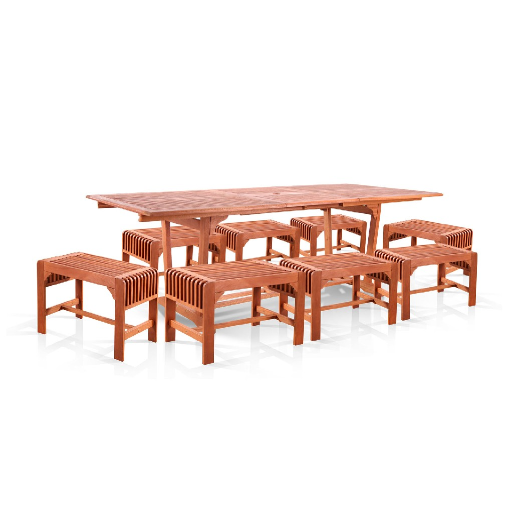 Vifah Dining Set Wood Patio Extension Table Backless Chairs