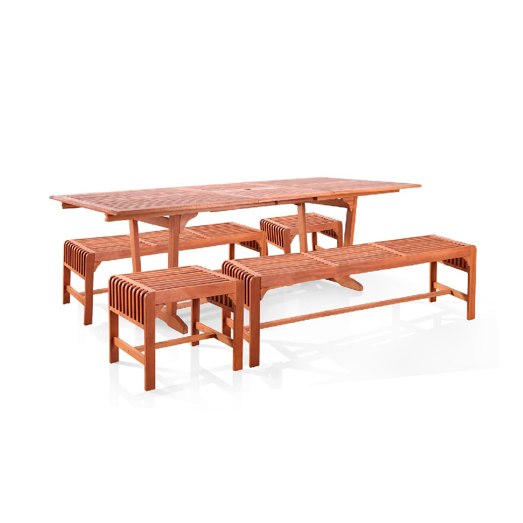 Wood Patio Dining Set Extension Table Backless Benches Chairs