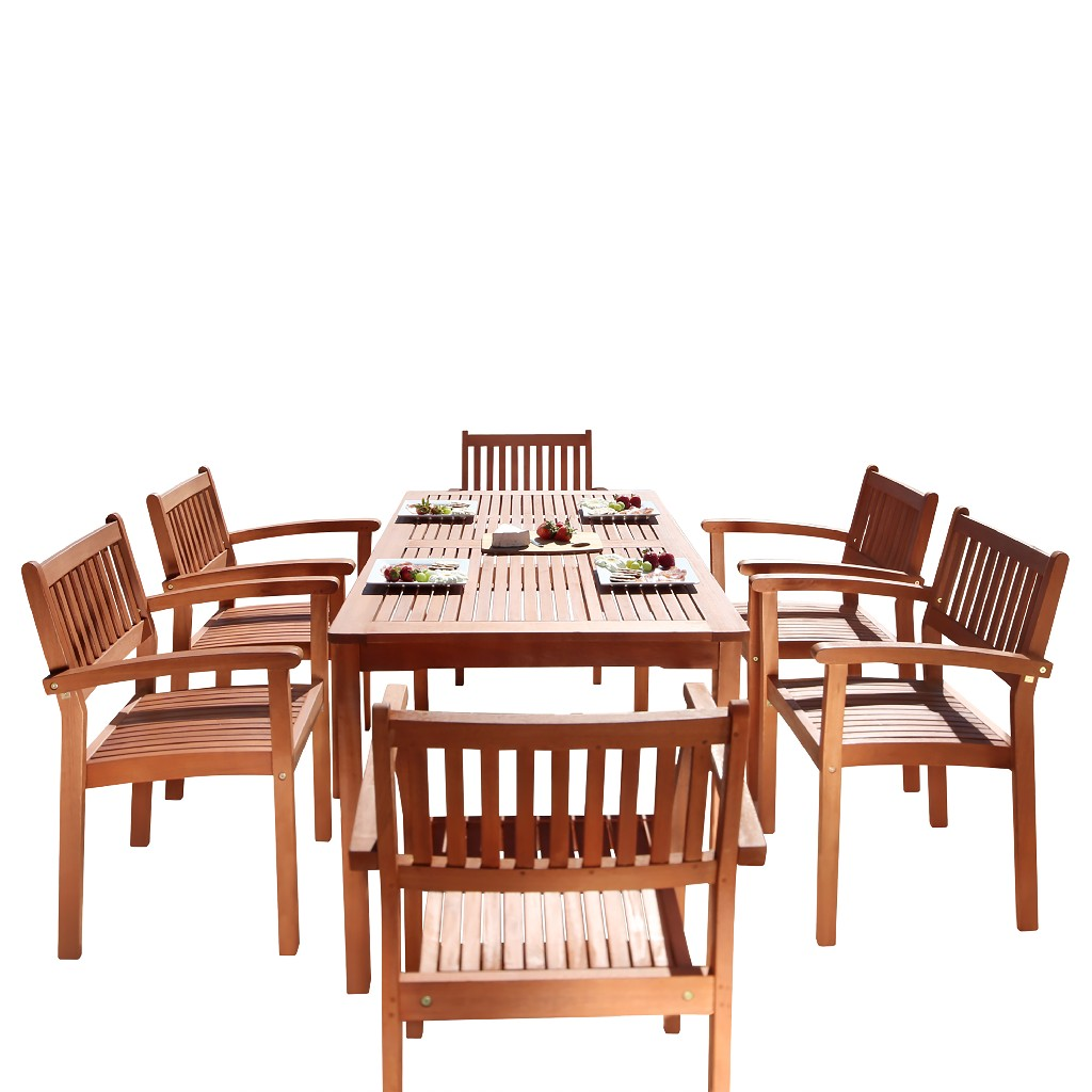 Outdoor | Stack | Patio | Chair | Dine | Wood | Set