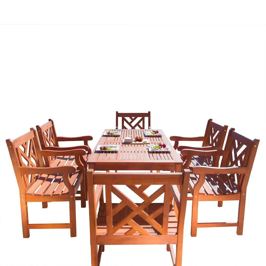 Malibu Outdoor 7-PC Wood Patio Dining Set - Vifah V98SET11