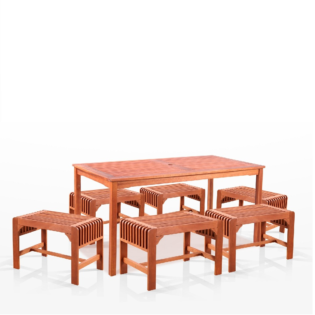 Vifah Dining Set Wood Patio Backless Chairs