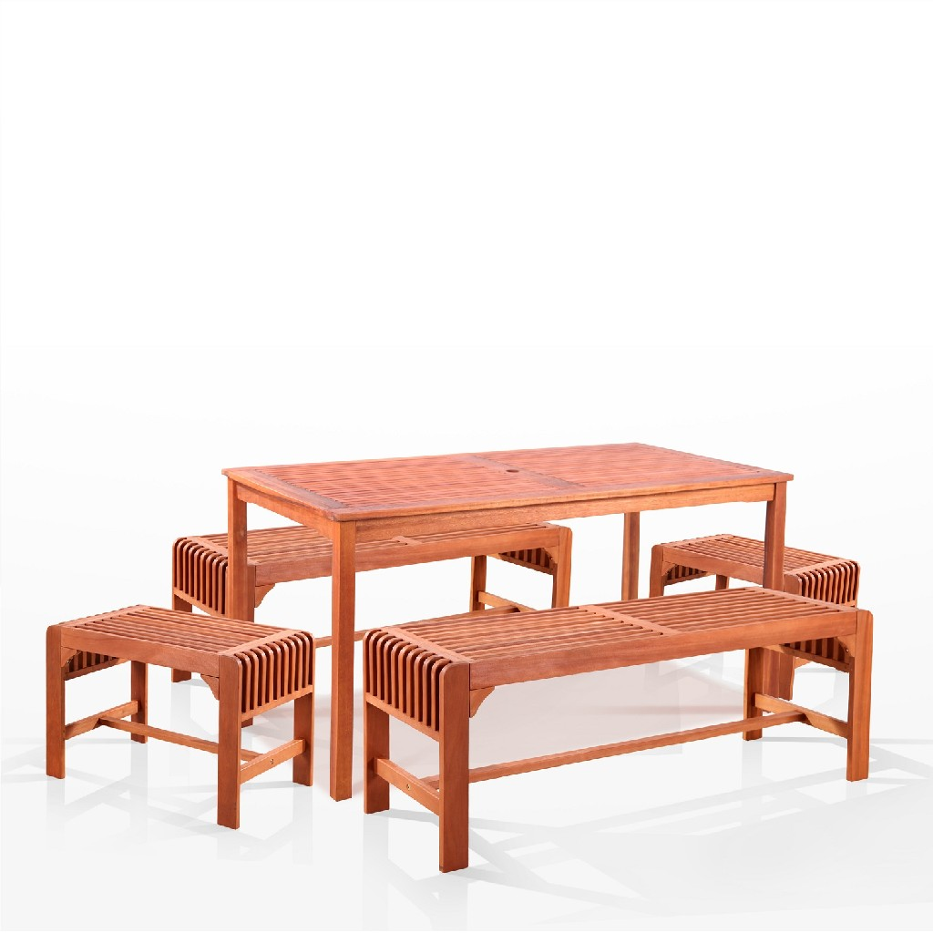 Vifah Dining Set Wood Patio Backless Bench Chairs