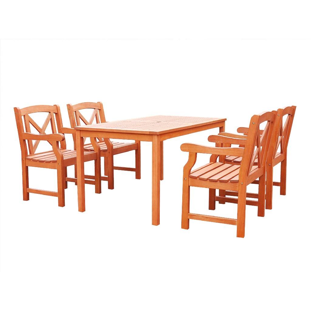 Vifah Dining Set Outdoor Wood Patio