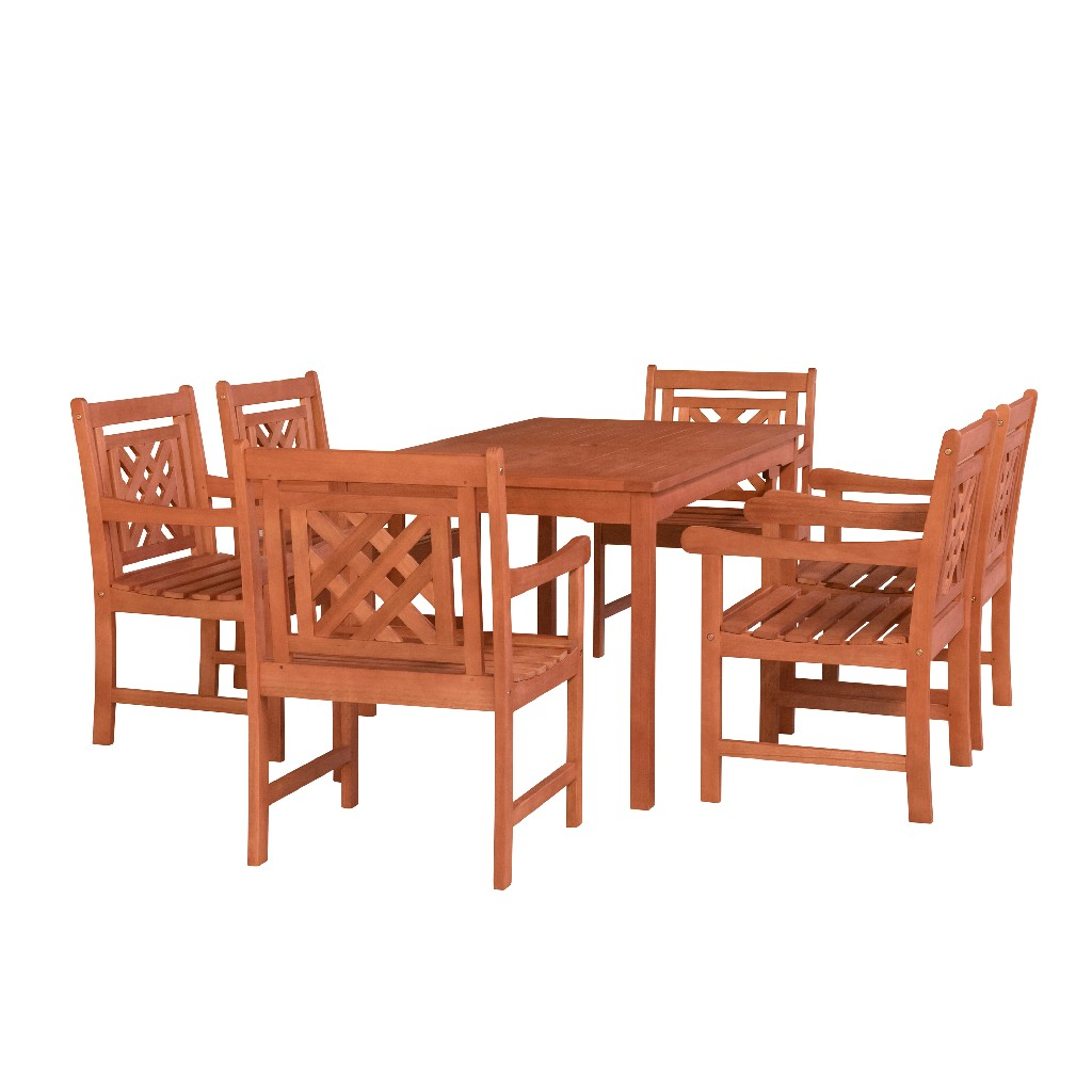 Rectangular | Outdoor | Patio | Table | Wood | Dine | Set