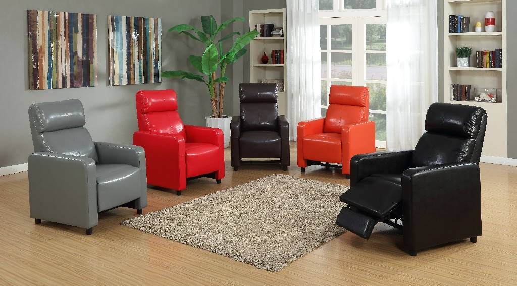 Myco Push Back Home Theater Set Brown Faux Leather