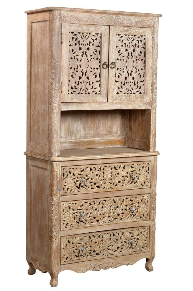 2 Door, 3 Drawer Cabinet In White Wash - MEVA 43007001