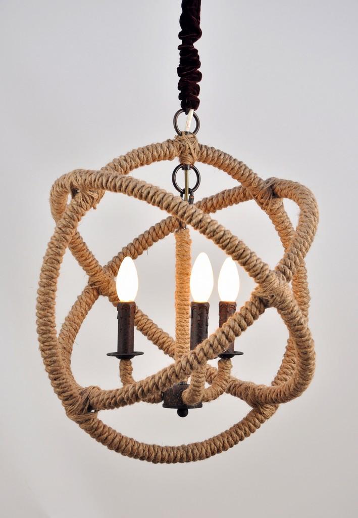 Ada Iron and Jute Globe Pendant In Brown - MEVA 64001005