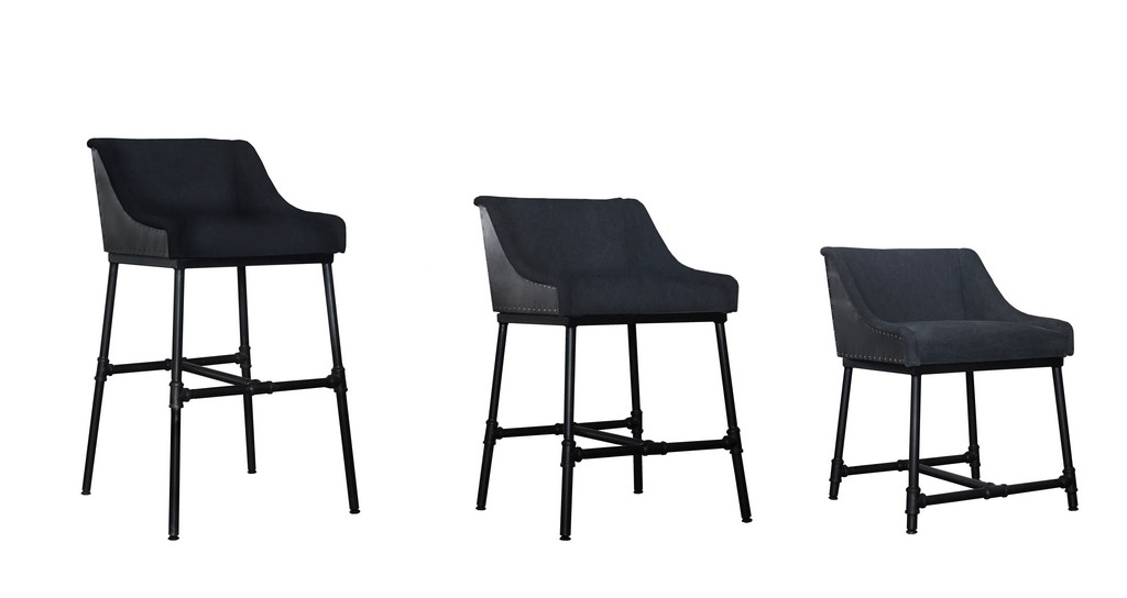 Aliso Morgan Charcoal Adjustable 3 in One Chair (Dine, Bar and Counter) - MEVA 69011002