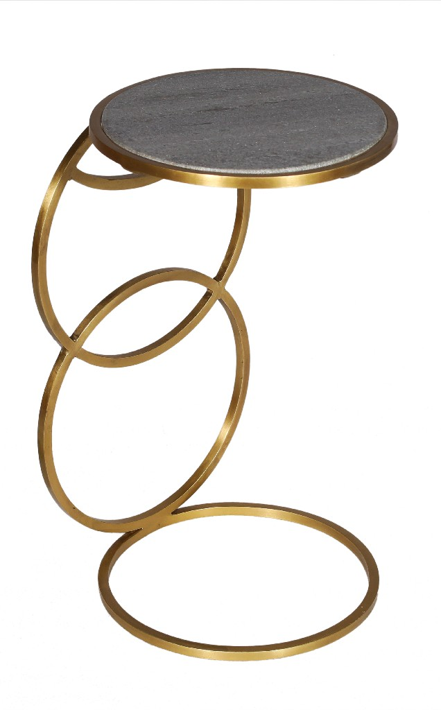 Delilah Side Table in Grey and Gold - MEVA 73104003
