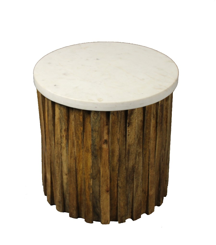 Allure Accent Table in White and Natural - MEVA 82004005
