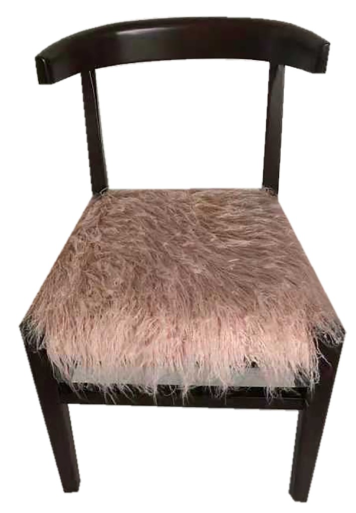 Aaron Chair Faux Fur Upholstered Seat in Brown and Pink - MEVA 88011092